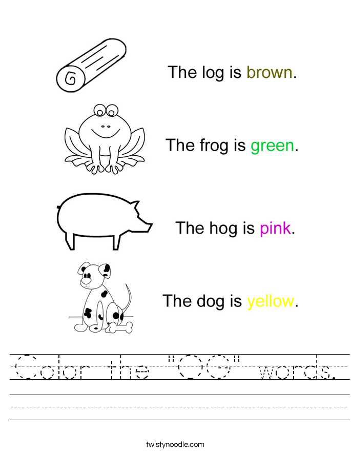 "Color the ""OG"" words. Worksheet"