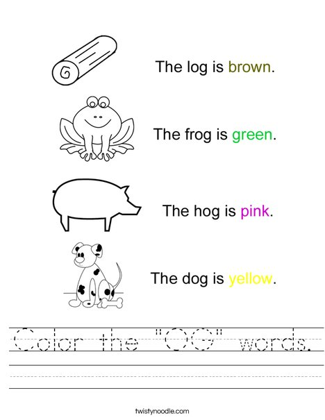 "Color the ""OG"" Words Worksheet"