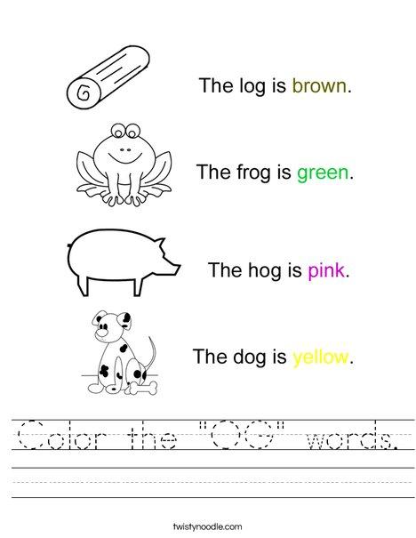 """Color the """"OG"""" Words Worksheet"""