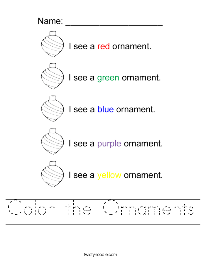 Color the Ornaments Worksheet