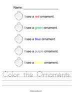 Color the Ornaments Handwriting Sheet