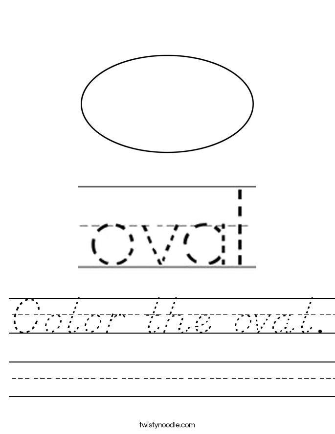 Color the oval. Worksheet