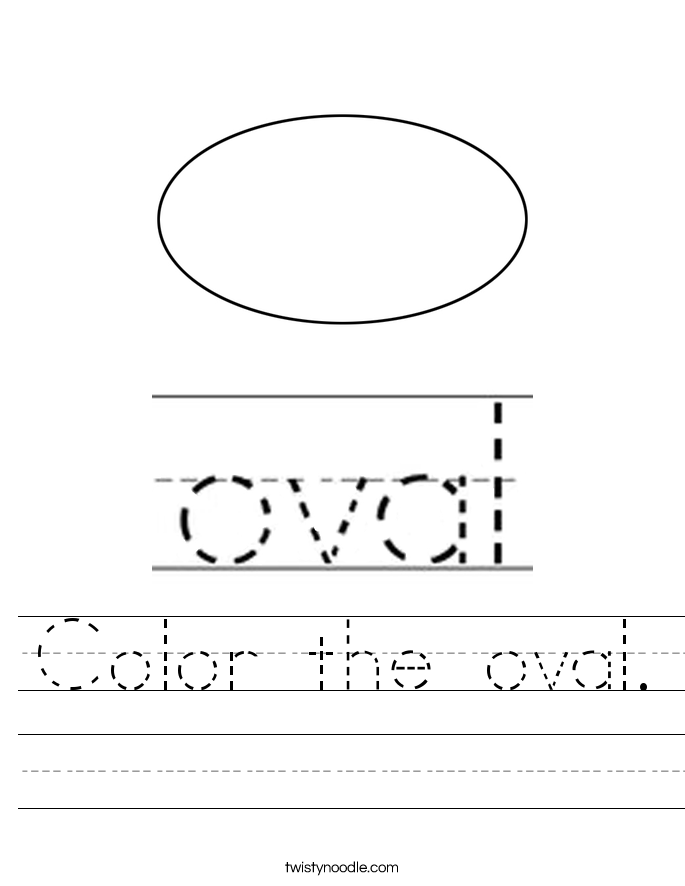 Color the oval. Worksheet