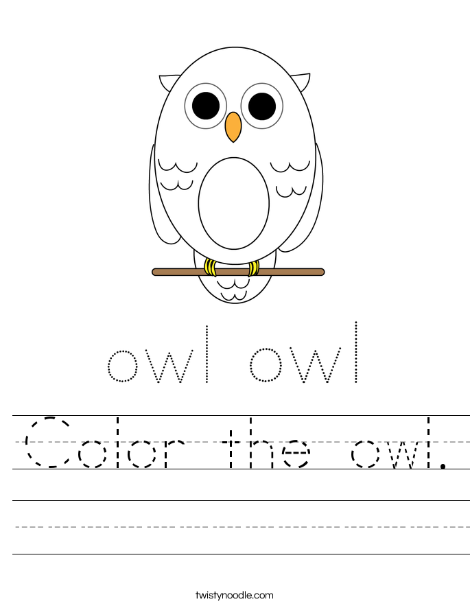 Color the owl. Worksheet