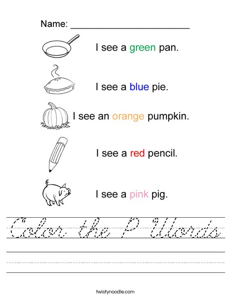 Color the P Words Worksheet