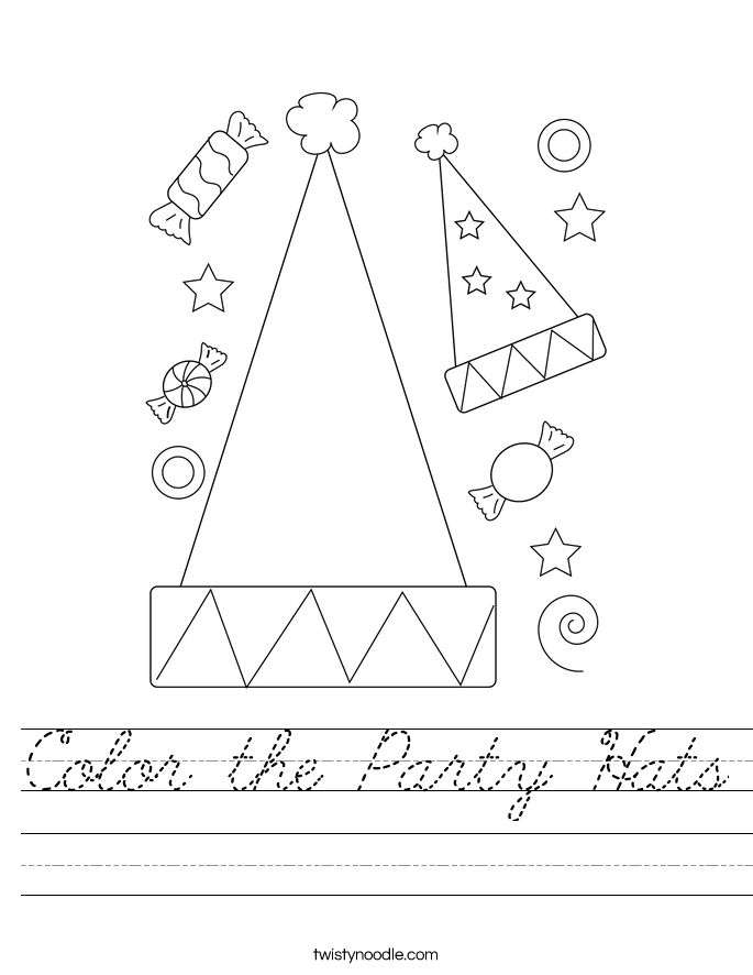Color the Party Hats Worksheet