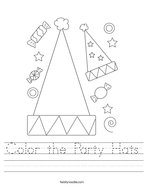 Color the Party Hats Handwriting Sheet