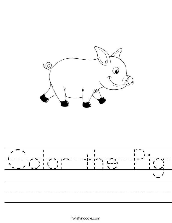 Color the Pig Worksheet