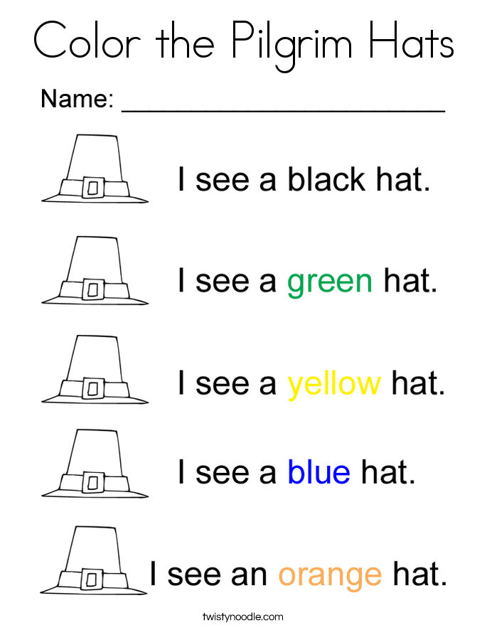 Pilgrim Hat Coloring Page - Worksheet & Coloring Pages