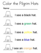 Color the Pilgrim Hats Coloring Page