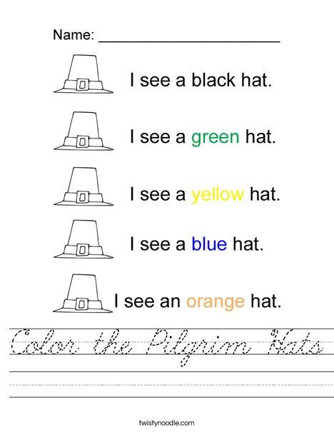 Color the Hats Worksheet