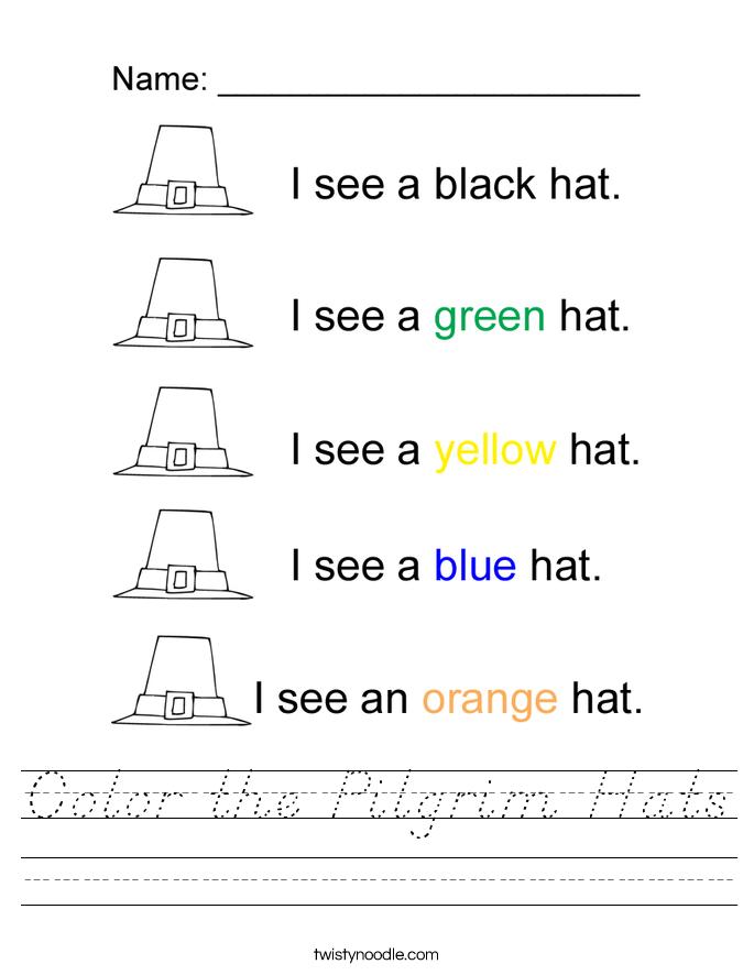 Color the Pilgrim Hats Worksheet