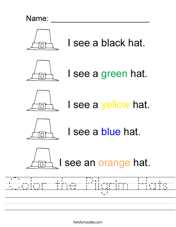 Color the Pilgrim Hats Worksheet