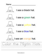 Color the Pilgrim Hats Handwriting Sheet