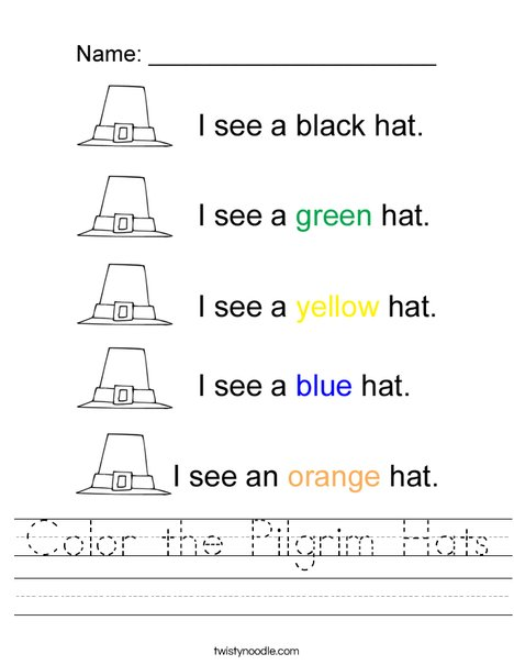 color the pilgrim hats worksheet twisty noodle. Black Bedroom Furniture Sets. Home Design Ideas