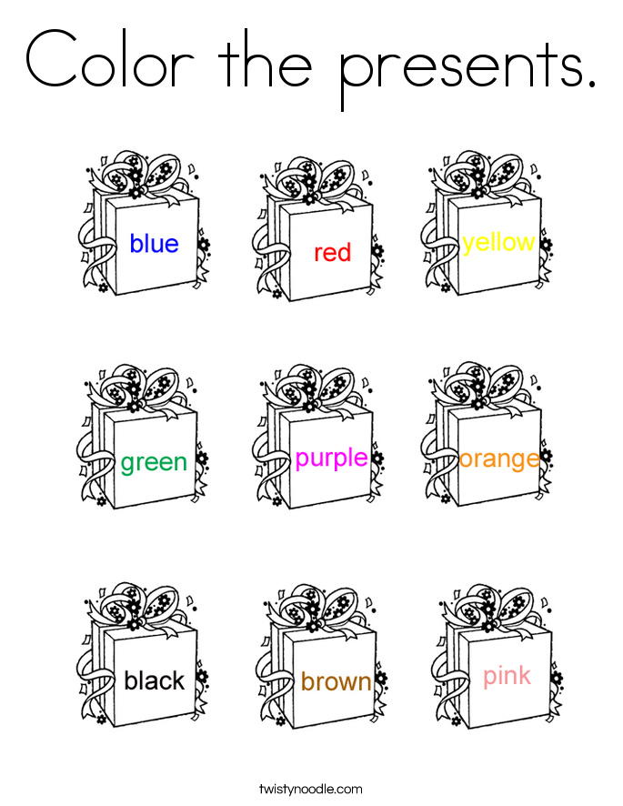 Color the presents. Coloring Page