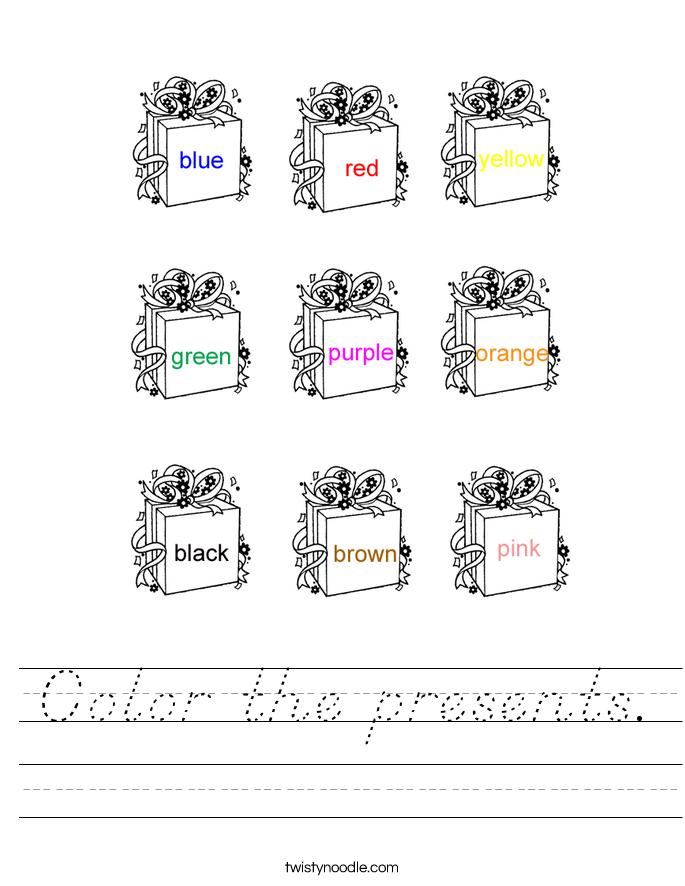 Color the presents. Worksheet