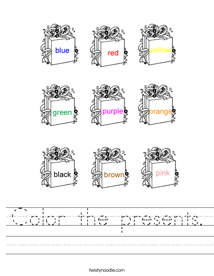Color the presents. Worksheet