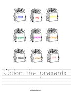 Color the presents Handwriting Sheet
