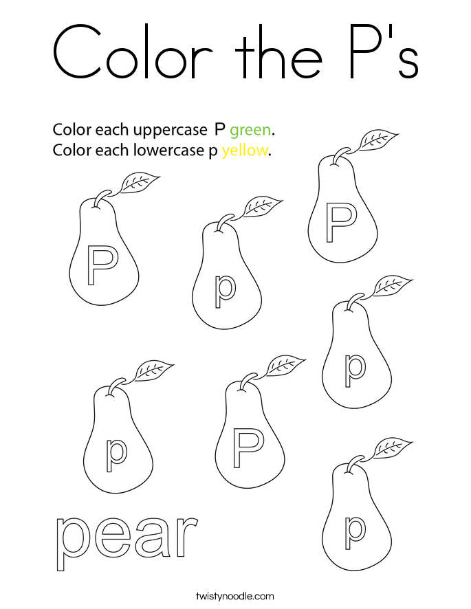 Color the P's Coloring Page