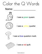 Color the Q Words Coloring Page
