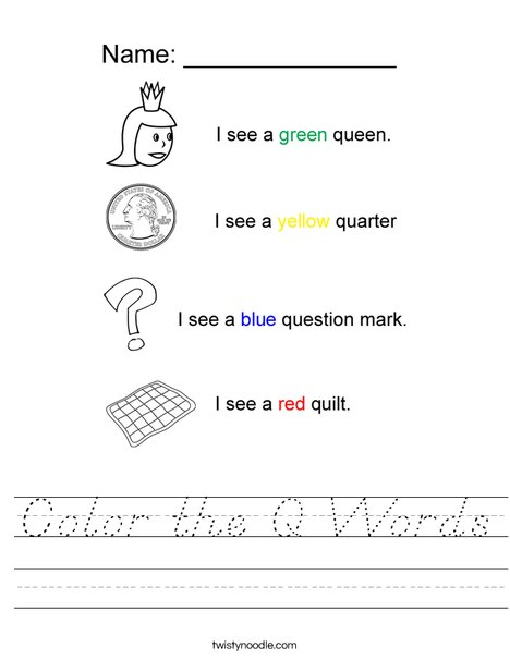Color the Q Words Worksheet