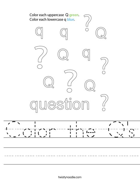Color the Q's Worksheet