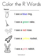Color the R Words Coloring Page