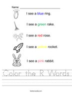 Color the R Words Handwriting Sheet