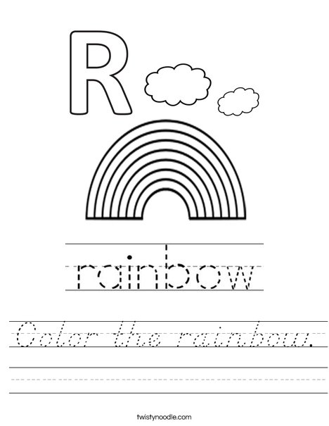 Color the rainbow. Worksheet