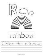 Color the rainbow Handwriting Sheet