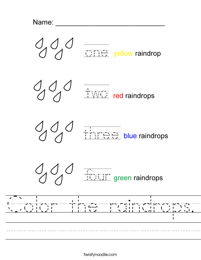Color the raindrops. Worksheet