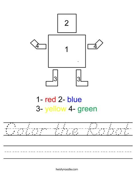 Color the Robot Worksheet