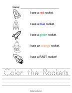 Color the Rockets Handwriting Sheet