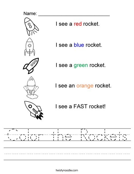 Color the Rockets Worksheet