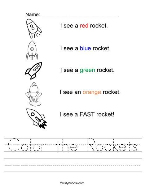 Color the Rockets Worksheet