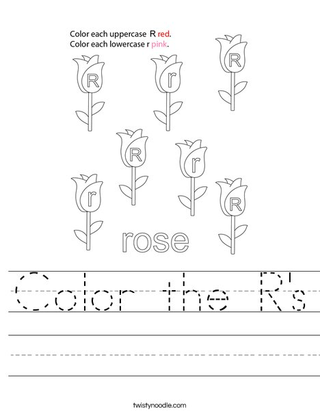 Color the R's Worksheet