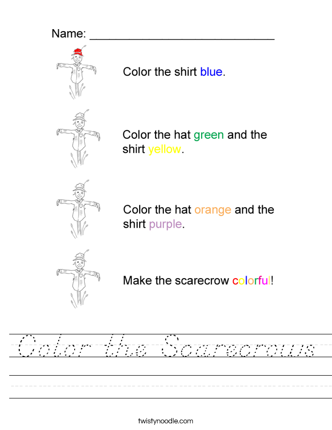 Color the Scarecrows Worksheet