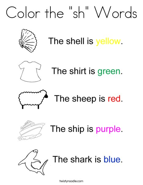 "Color the ""sh"" Words Coloring Page"