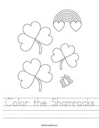 Color the Shamrocks Handwriting Sheet