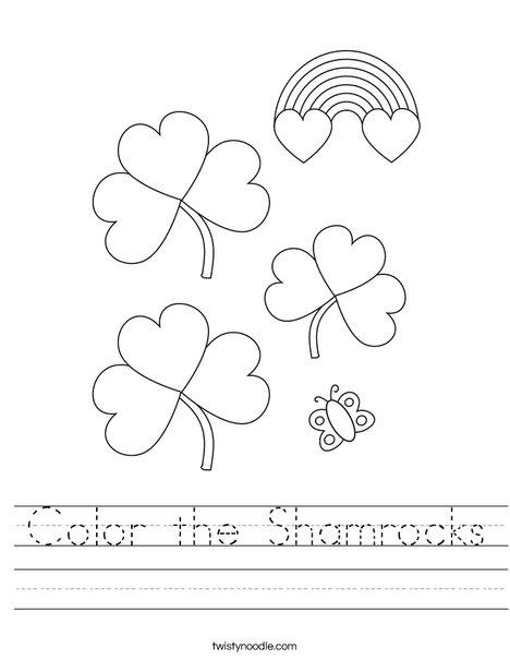 Color the Shamrocks Worksheet