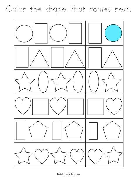 Color the shape that comes next. Coloring Page