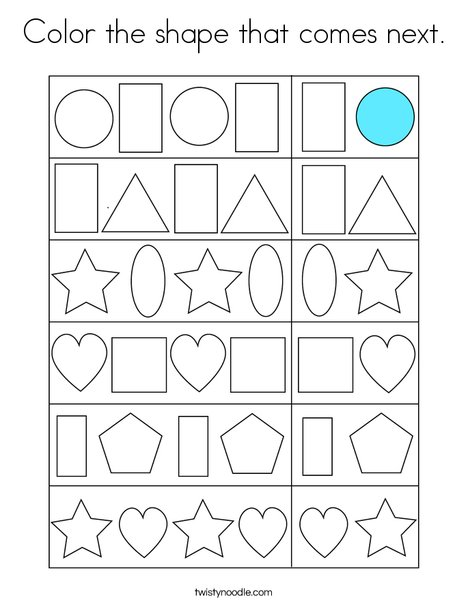 Color the shape that comes next. Coloring Page