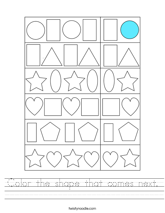 Color the shape that comes next. Worksheet