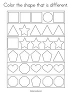 Color the shape that is different Coloring Page