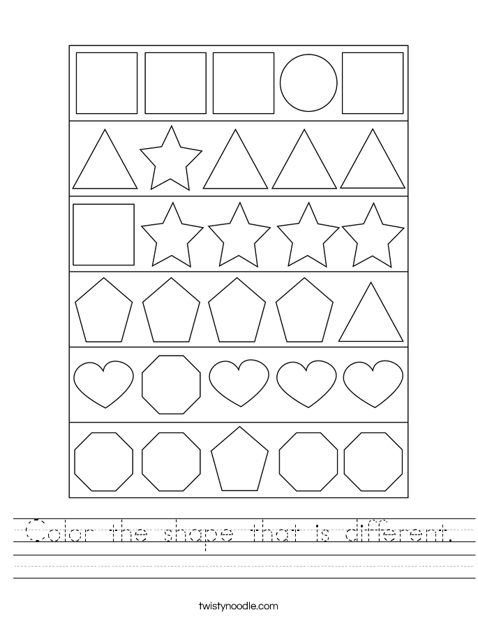 Color the shape that is different. Worksheet
