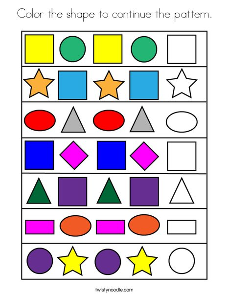 Color the shape to continue the pattern. Coloring Page