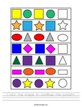 Color the shape to continue the pattern. Worksheet