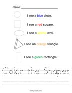 Color the Shapes Handwriting Sheet