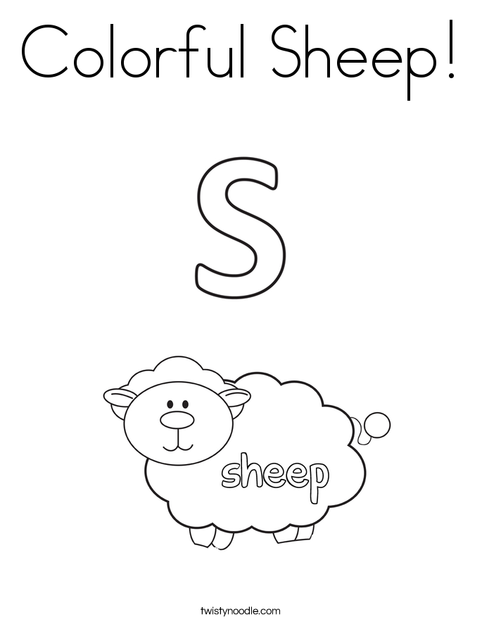 Colorful Sheep! Coloring Page